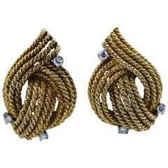 David Webb 18 Karat Rope Diamond Clip-On Earrings