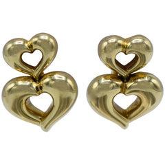 Van Cleef & Arpels France, 18 Karat Gold Double Heart Earrings