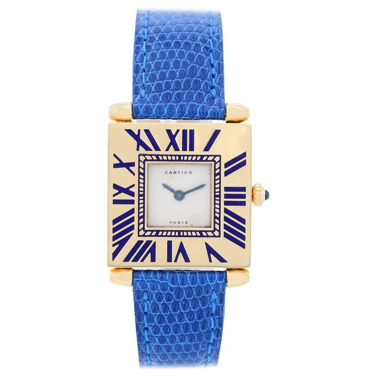 Cartier Ladies Yellow Gold Quadrant Quartz Wristwatch For Sale