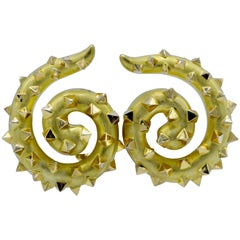 Large 18 Karat Gold Spiral Shaped Earring with Pyramid Studs