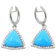 18 Karat White Gold Turquoise and Diamonds Garavelli Dangle Earrings