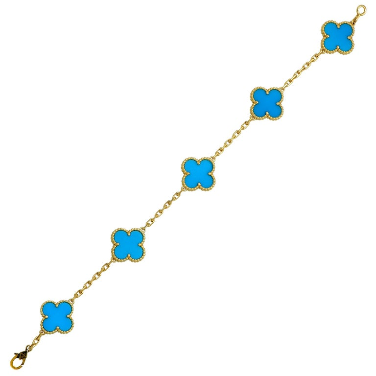 Van Cleef & Arpels Vintage Alhambra Turquoise 18 Karat Yellow Gold Bracelet For Sale