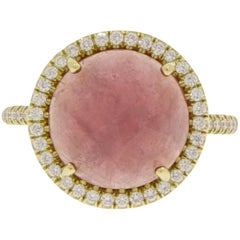 Round Pink Sapphire and Diamond Yellow Gold Ring