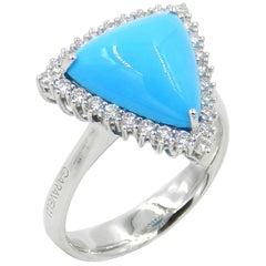 18 Karat White Gold Turquoise and White Diamonds Garavelli Ring