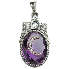 Georgian 29.71 Carat Amethyst Handmade Pendant with Diamond Crescent Moon