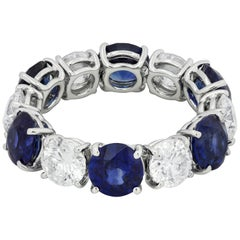 Alternating Blue Sapphire and Diamond Flexible Eternity Wedding Band