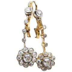 Edwardian Floral Motif .84 Carat Diamond Drop Earrings