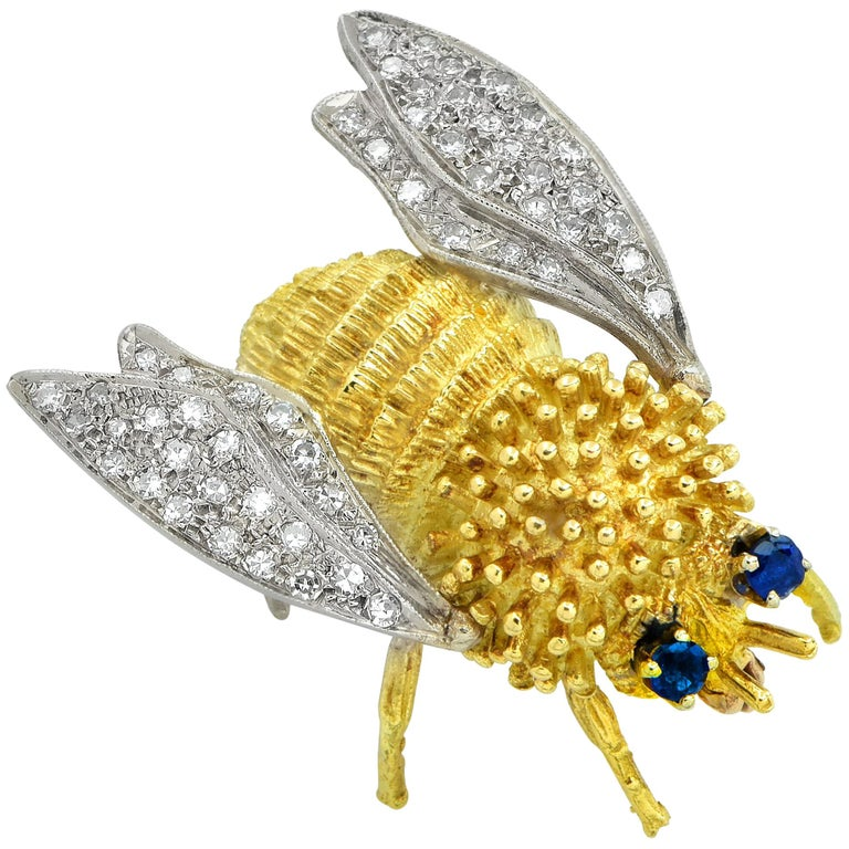 Sapphire and Diamond Bee Brooch Pin For Sale