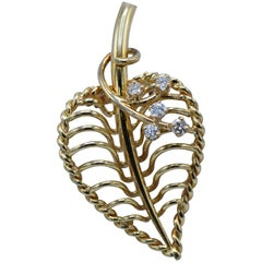 Cartier, 14 Karat Gold and Diamond Leaf Brooch