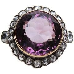 Victorian 14.29 Carat Amethyst and 1.24 Carat Rose-Cut Diamond Halo Ring