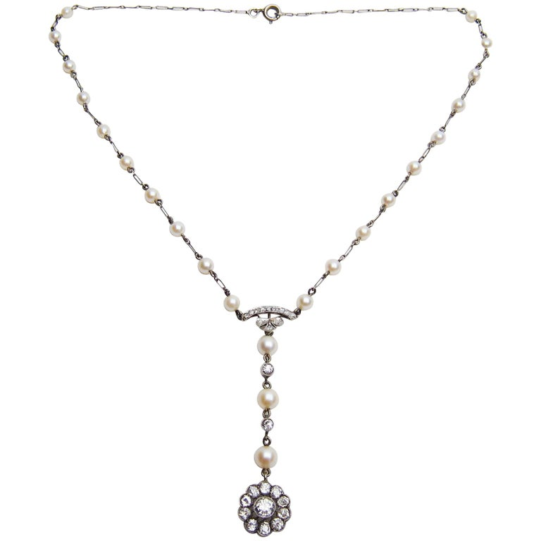 Edwardian 1.85 Carat Old European Diamond and Cultured Pearl Cluster Pendant For Sale