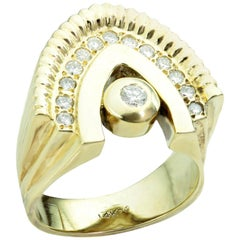 Diamond Yellow Gold Arch Unisex Ring