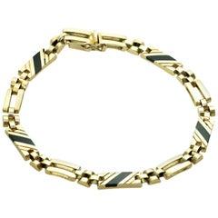 Black Onyx Yellow Gold Link Unisex Bracelet