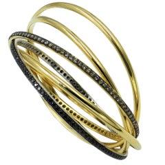 18 Karat White, Yellow and Rose Gold Brown and Black Diamonds Bangle Bracelet