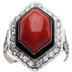 3.70 Carat Coral Cabochon and Diamond Halo Ring Accented with Enamel