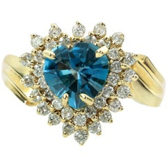 Diamond London Blue Topaz Heart Yellow Gold Ring