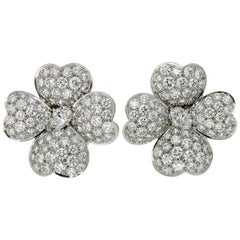 Van Cleef & Arpels Cosmos Diamond Platinum Large Model Clip-On Earrings