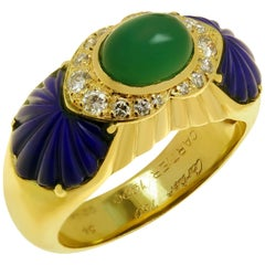 Cartier Green Rhodochrosite Blue Lapis Lazuli Diamond Yellow Gold Ring