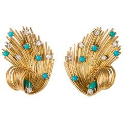 Retro Turquoise and Diamond Earrings