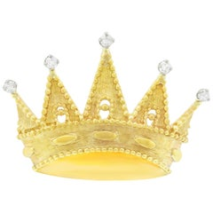 Tiffany & Co. Diamond Set Gold Crown Brooch