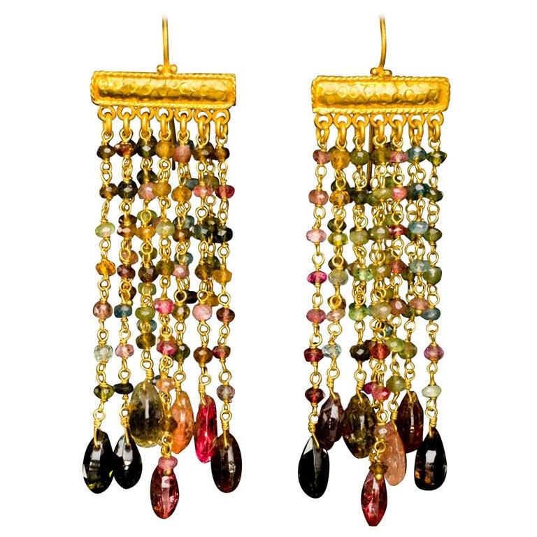 Tourmaline and 18 Karat Gold Chandelier Bead Dangle Earrings