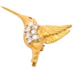 Beautiful Hummingbird Diamond and Ruby Brooch