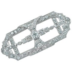 Art Deco 5.5 Carat Old European Cut Diamond Platinum Brooch Pin