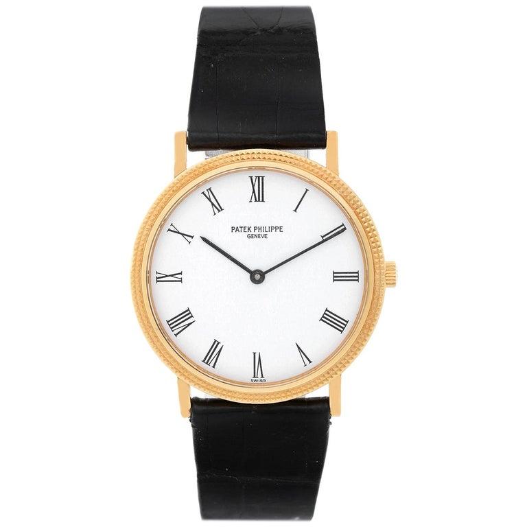 Patek Philippe Yellow Gold Calatrava Quartz Wristwatch Ref 3954 J