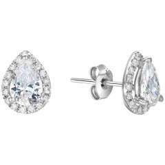 Pear Cut Diamond Halo Stud Earrings