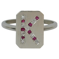 Antique Platinum Old Cut Ruby and Diamond K Initial Signet Panel Ring