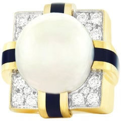Massive 1960s Diamond, Pearl and Enamel Gold Ring
