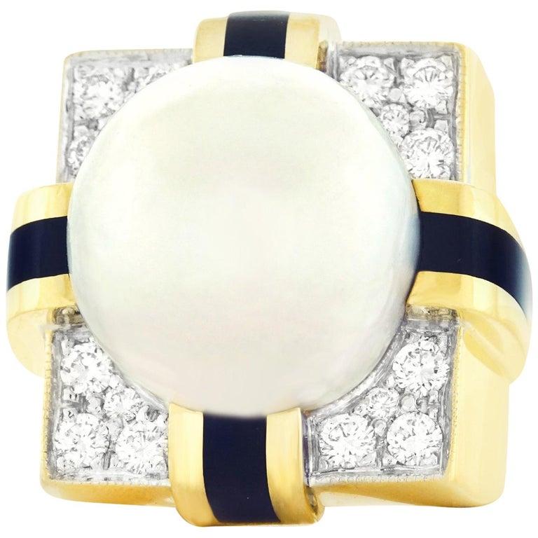 Massive 1960s Diamond, Pearl and Enamel Gold Ring