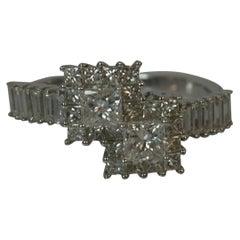 18 Carat White Gold 1.15 Carat Diamond Cluster Ring