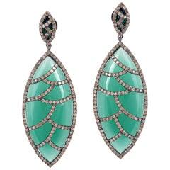Meghna Jewels Bora Bora Earrings Green Onyx Marquise Cabochon and Diamonds