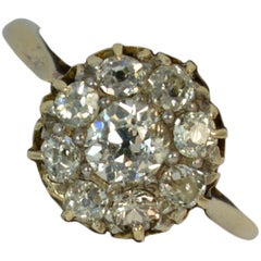 Victorian 1.00 Carat Old Cut Diamond 15 Carat Gold Cluster Ring