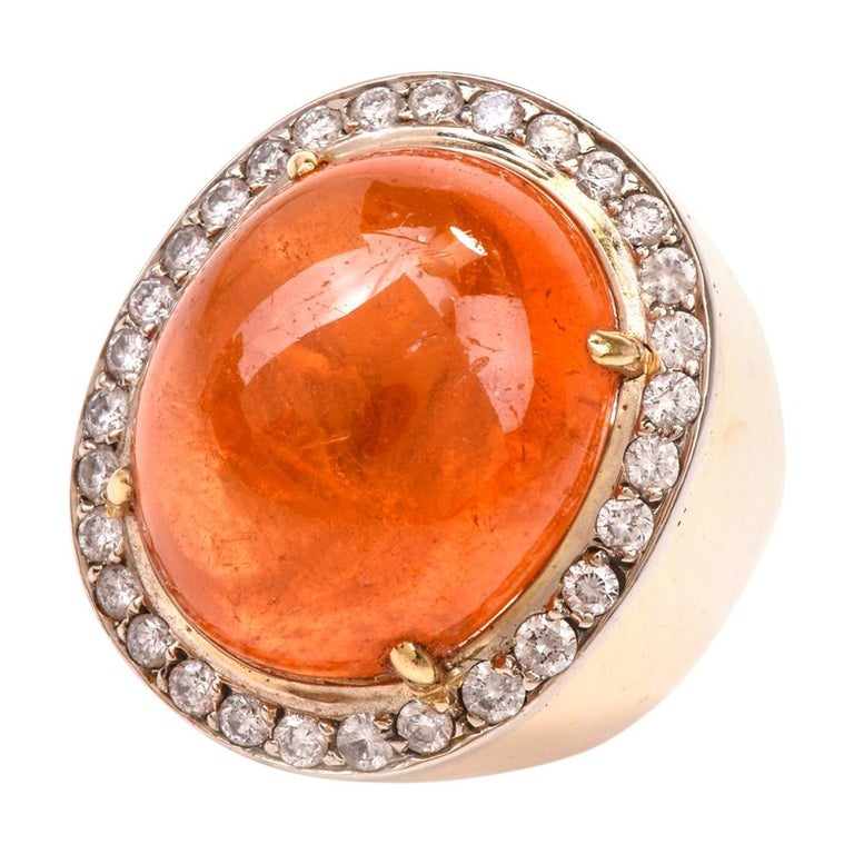 1970s Mandarin Garnet Diamond Yellow Gold Cocktail Ring