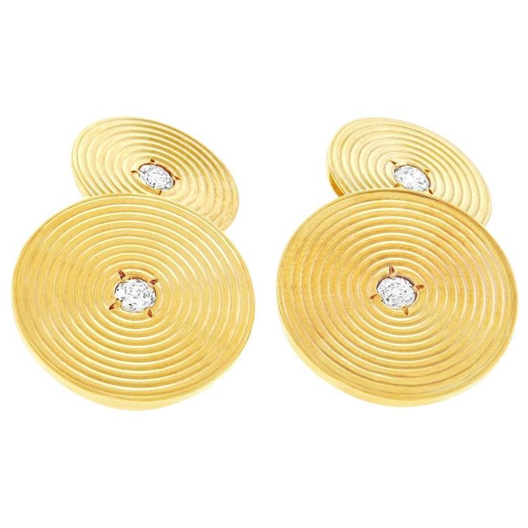 Art Deco Diamond Set Gold Cufflinks