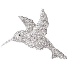 Tiffany & Co. Hummingbird Pave Diamond Platinum Brooch Pin
