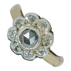 Victorian Rose and Old Cut Diamond 18 Carat Gold Cluster Ring
