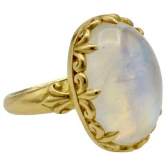 18 Karat Gold Granular 9.9 Carat Moonstone Ring