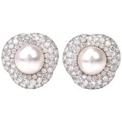 1980s South Sea Pearl Pave Diamond Platinum Clip-Back Earrings