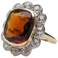 Art Deco 4.35 Cushion-Cut Natural Orange Citrine and Diamond Halo Ring