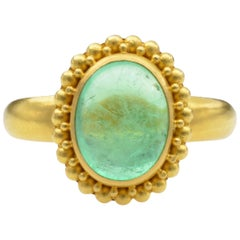 2.80 Carat Emerald and 22 Karat Yellow Granular Gold Ring