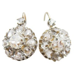 Victorian 3.38 Carat Diamond Cluster Platinum-Topped 14 Karat Gold Earrings
