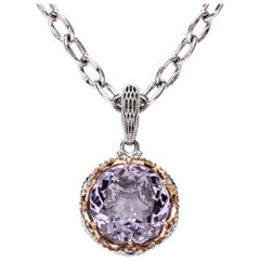 Tacori Amethyst Pendant and Chain, Sterling Silver, 18 Karat Gold, 12.50 Carat