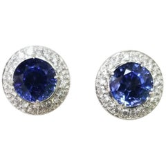 18 Karat White Gold Lab Created Blue Sapphire and Diamond Earrings
