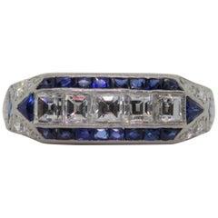 Art Deco Revival Diamond Sapphire Platinum Ring