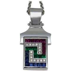 Georgios Collections 18 Karat White Gold Multicolour Greek Key Pendant Necklace