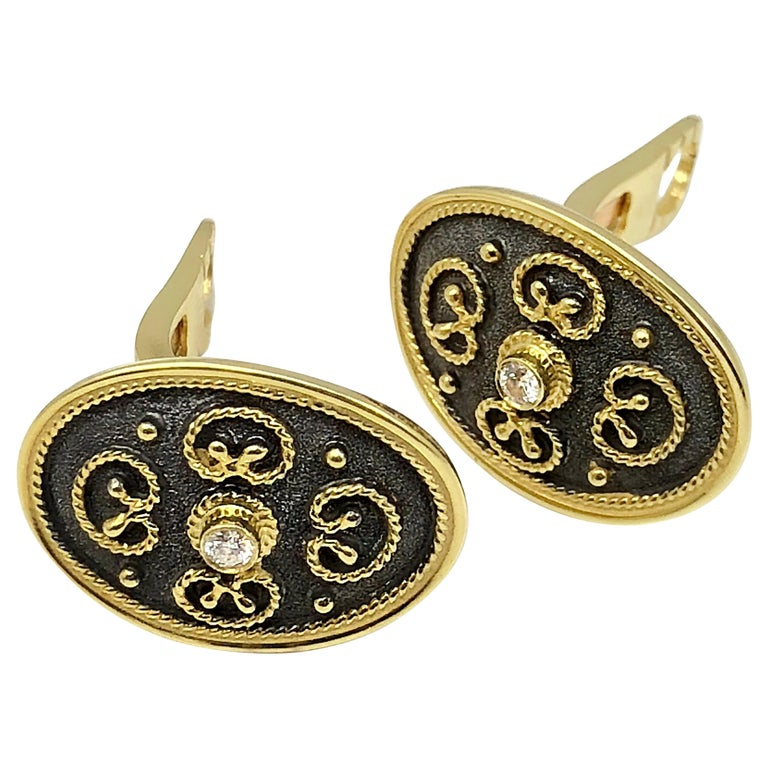 Georgios Collections 18 Karat Yellow Gold Diamond Earrings in Byzantine Style