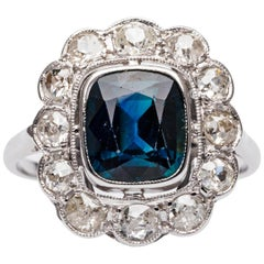 French Art Deco Sapphire Diamond Gold Ring